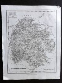 Bell & Fullarton C1835 Antique Map. Herefordshire, UK
